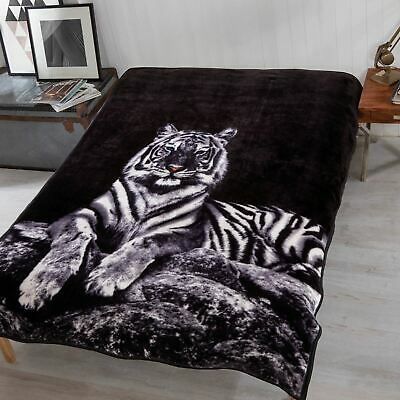 View Details Dreamscene Faux Fur White Tiger Mink Throw Fleece Blanket Thick Warm - 150x200cm • 10.50£