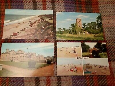 4 CARDS - NORFOLK; 1970s; HEACHAM; HOLKHAM HALL; HOPTON-ON-SEA • 8£