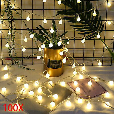 100 LED Globe Ball Outside Garden Lights String Fairy Decor Warm White 33ft • 10.39£