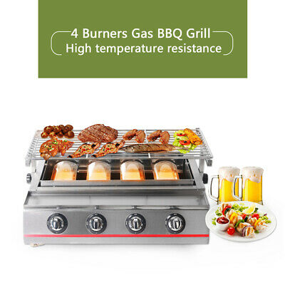AU332.44 • Buy 4Burner LPG Gas BBQ Grill Outdoor Barbeque Picnic Smokeless Tabletop Charbroiler