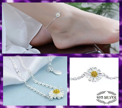 925 Sterling Silver Boho Ankle Bracelet Daisy Anklet Adjustable Chain Foot Beach • 3.60£