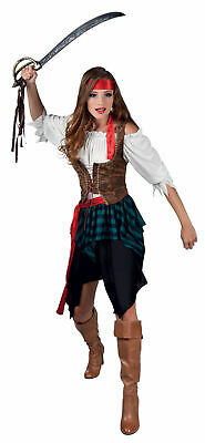 Ladies Pirate Costume Buccaneer Wench Fancy Dress Outfit New 10 12 • 6.99£