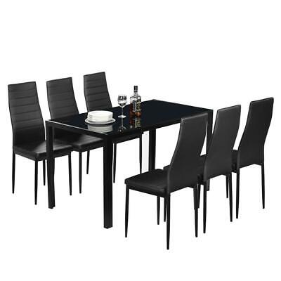 $195.99 • Buy Hot 6 Person Dining Table Set Chairs Black Glass Table Metal Kitchen Room 7PCS