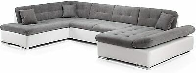 Sofa Bergen -U Shape Corner Sofa Bed +Storage- Leather/ Fabric -Black/White/Grey • 889£