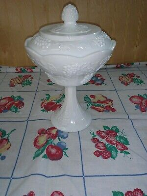 $17 • Buy INDIANA White Milk Glass Grape Harvest Footed Covered Compote Lid Candy Dish