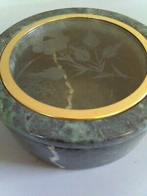 Green Granite Stone VTG Trinket Box With Etched Rose On Glass Lid  • 22.45£