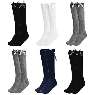 Girls Knee High Bow Socks Lycra Long School Black Grey Navy White 1 2 3 Pairs • 1.99£