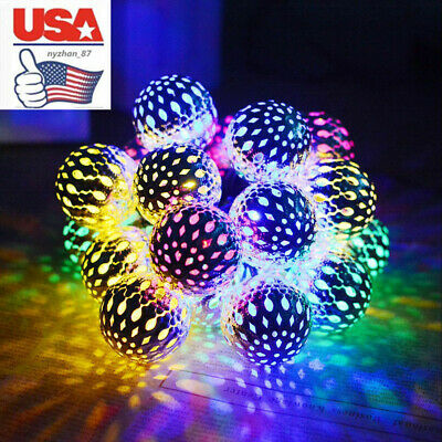 US 20/50 LED Solar String Lights Moroccan Ball Star Garden Fairy Lamp Waterproof • 15.03$