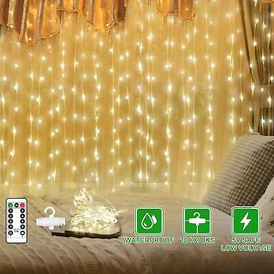 300 LED Fairy String Lights Curtain Window Wedding Party Decor Remote In/Outdoor • 8.93£