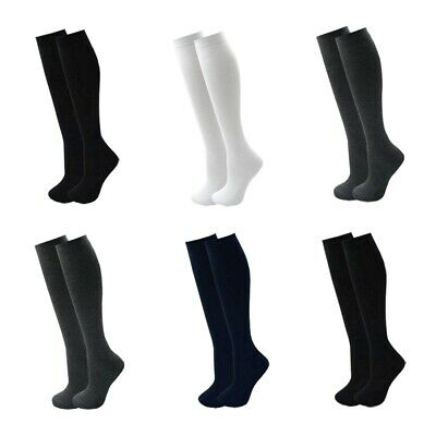 Girls Knee High School Socks Plain Long Lycra Black Grey Navy White 1 3 6 Pairs • 1.97£