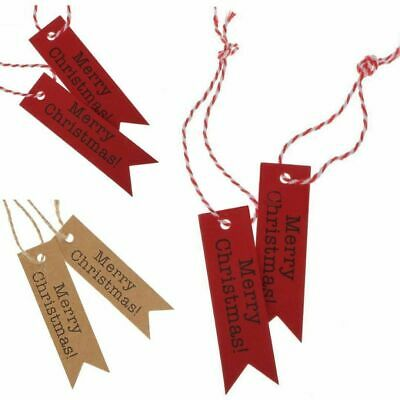 50/100PCS Merry Christmas Kraft Paper Gift Tags Scallop Label Luggage + Strings • 1.99£