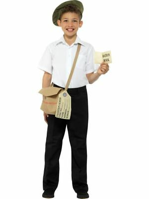 Evacuee Instant Kit Brown With Hat Bag & Ration Book,Boys Fancy Dress • 8.95£