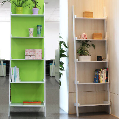 Stylish 5 Tier Ladder Shelving Unit Wall Leaning Bookcase Display Living Room UK • 40.99£