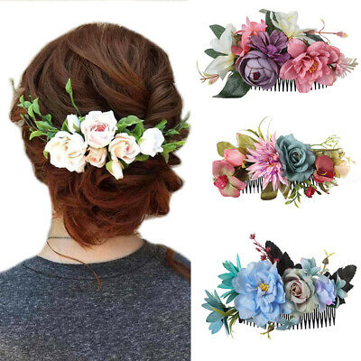 $2.39 • Buy Women's Bridal Flower Hair Comb Pins Clips Slide Hair Accessories Wedding Party