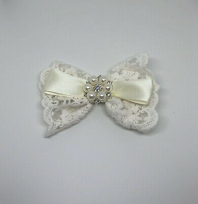 Thick Cream Laced Ribbon Hair Bow With Satin And Flower Diamanté Pearl Detail • 2£