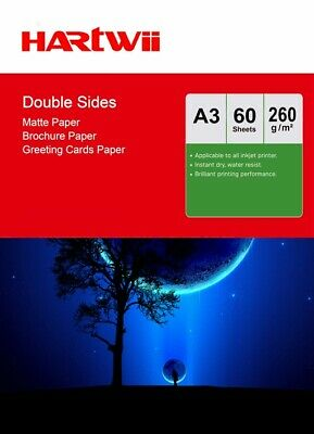 £14.49 • Buy A3 Double Sided Matte Matt Thick Photo Paper 260Gsm Inkjet Paper - 60 Sheets Har