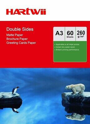 £14.49 • Buy A3 Double Sided Matte Matt Thick Photo Paper 260Gsm Inkjet Paper - 60 Sheets