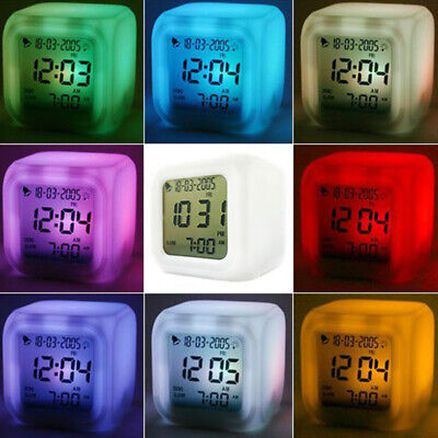 LED Colorful Digital Alarm Clock Illuminated Colour Changing For Camping Parts • 6.85£