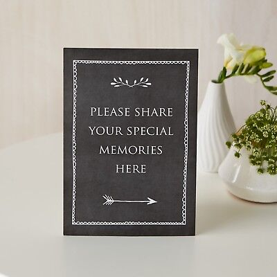 £4.99 • Buy 'Share Your Memories Here' A5 Black Card Sign - For Funeral Condolence Book