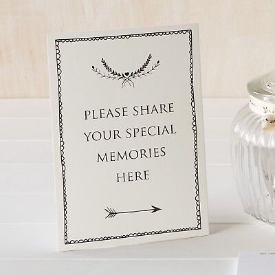 £4.99 • Buy 'Share Your Memories Here' A5 Ivory Card Sign - For Funeral Condolence Book