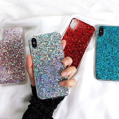 $ CDN5.92 • Buy Bling Glitter Rubber Soft Case Cover For Samsung S20 S10 S9 Note 10 Plus A8 A9