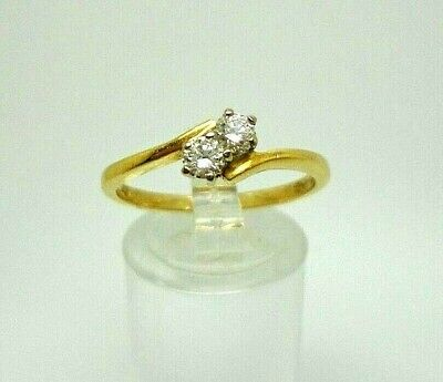 18ct Yellow Gold Hallmarked 0.25ct Diamond Engagement Two Stone Ring Size Q 1/2 • 395£