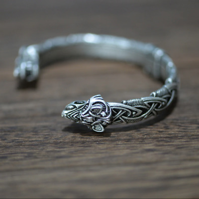 Viking Wolf Bracelet Bangle Norse Celtic Knot Triquetra Antiq Silver Adjustable • 16.99£