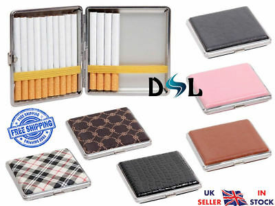 POCKET TOBACCO TIN Box/Case Faux Leather Slim Cigarette/Roll Up Holder Protector • 6.49£
