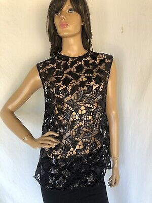 $ CDN125.97 • Buy IRO Black  Women's Size 36 SMALL Sequin Curtout Pattern Blouse $319