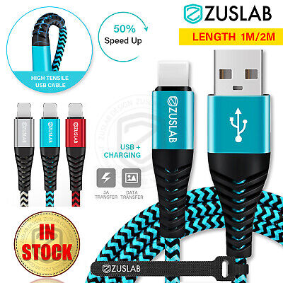 AU7.95 • Buy ZUSLAB Nylon USB 3A Fast Charging Cable Data For Apple Charger IPhone IPad