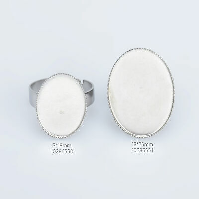 £3.54 • Buy Stainless Steel Oval Adjustable Ring Blank Base Cabochon Ring Setting 10pcs