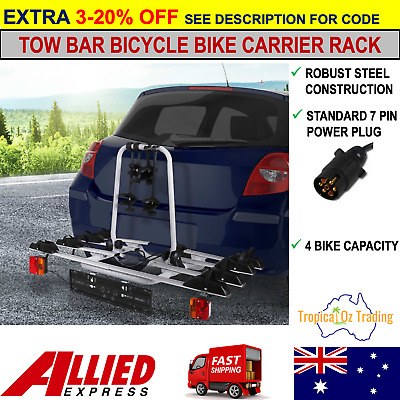 AU245.95 • Buy New 4 Bike Car Bicycle Rack Carrier Tow Ball Mount Tail Lights Hitch Ball Steel