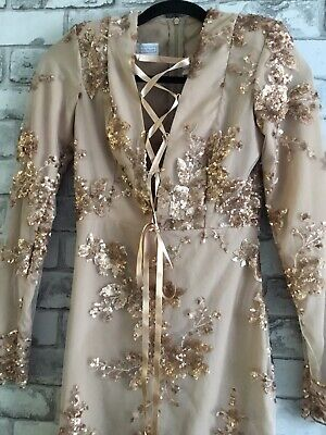 £50 • Buy The Dolls House SMALL Designer Rose Gold Pink Sequin Ladies Lace Dress RRP £250