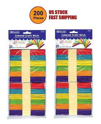 200 Pcs Colored Craft Stick Assorted Colored Best For Craft School Home Office • 7.49$