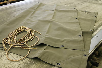 $155 • Buy MBT, M100 Military 1/4 Ton Trailer Canvas Tarp With Ropes