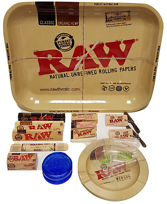 £17.89 • Buy RAW Medium Rolling Tray Smoking Gift Set Classic Papers Roach Tips Grinder Wick