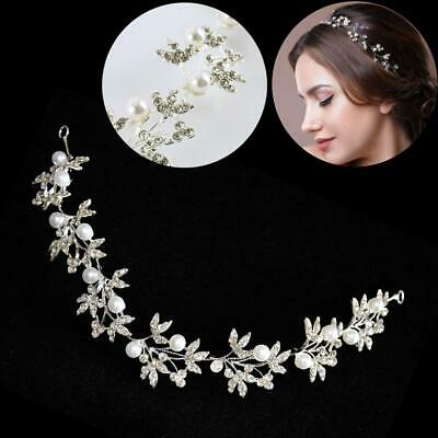 $ CDN11.14 • Buy Silver Bendable Pearl Crystal Bridal Hair Vine Wedding Headband Hair Accessories