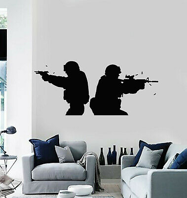 $28.99 • Buy Vinyl Wall Decal American Soldiers Military Army Weapons Stickers Mural (g1438)