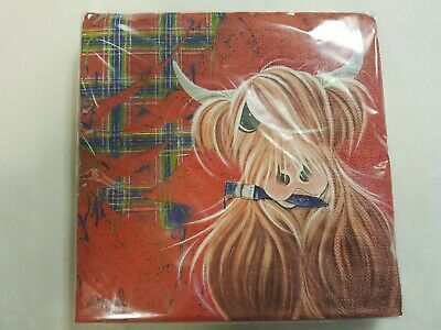 £5.99 • Buy Highland Cow Scottish Paper Napkins Home Party Dining Soft Tissue Serviettes