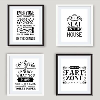 Funny Bathroom Wall Art Poster Black And White Bathroom Prints Toilet Pictures  • 2.99£