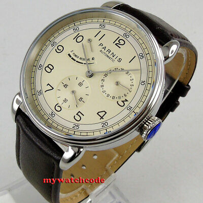 $ CDN94.17 • Buy 42mm PARNIS Beige Dial Power Reserve Date Window Sea-gull Automatic Mens Watch