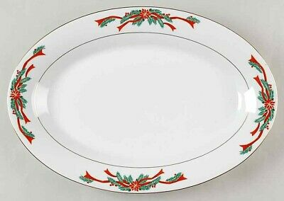 $19 • Buy Tienshan Poinsettia And  Ribbons~Christmas Oval Serving Platter Excellent