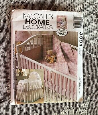 Sewing Pattern Baby Bassinet Skirt Cover Crib Comforter Bumper Dust Ruffle M3991 • 3$