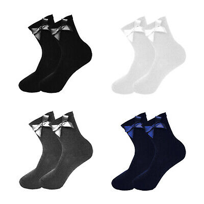 Girls Ankle Bow Socks Lycra Long School Black Grey Navy White 1 2 3 6 Pairs • 3.97£