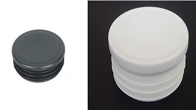 Round Plastic Black/White Blanking End Cap Caps Tube Pipe Inserts Plug Bung • 3.47£