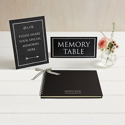 £19.99 • Buy A5 Luxury Black Memory Book & 2 Signs Set - Funeral Memory Table Condolence Book
