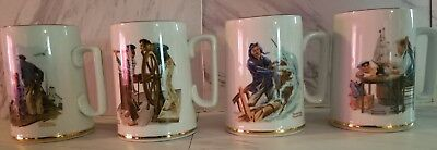 $ CDN25.25 • Buy Vintage Set Of 4 Norman Rockwell Museum Mugs 1985 Seafarers Tankard Collection