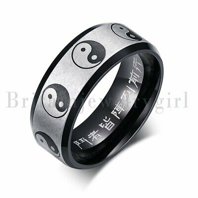 8MM Stainless Steel Tai Chi Yin Yang Bagua Chinese Lucky Ring Wedding Band #5-12 • 8.89£