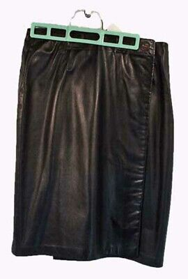 $ CDN91.50 • Buy Wrap Skirt In Soft Calf Leather, Original Tags On, Misses 10, Black, Fully Lined