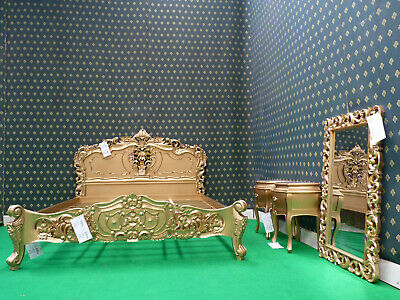 UK Super King Size 6' GOLD French Style Mahogany Oriental Rococo Bed  • 999£